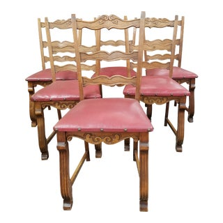 Vintage Oak and Red Leather Chairs - Set of 6