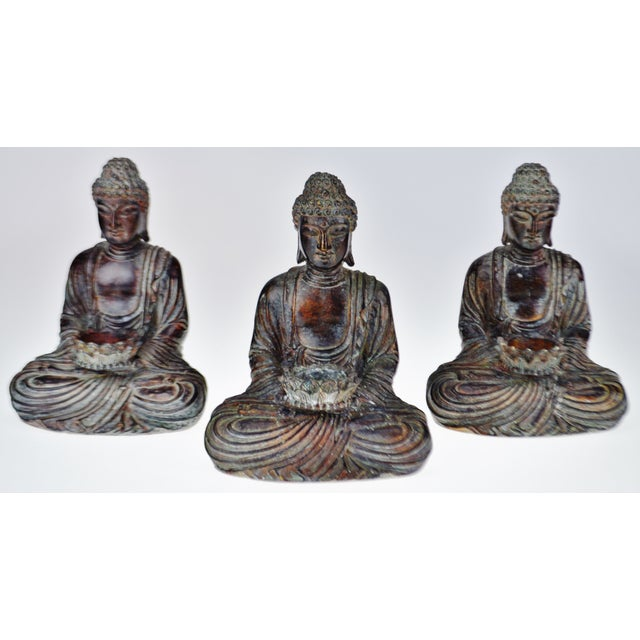 Vintage Asian Sitting Buddha Tealight Candle Holders For Sale - Image 4 of 13