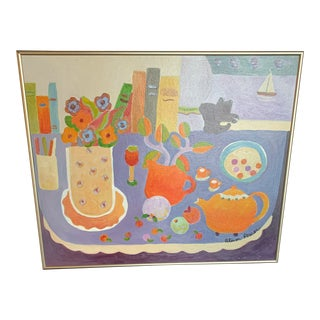 Still Life Orange Kettle Painting by Alison Power For Sale