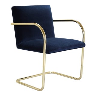Brno Tubular Chairs in Navy Velvet, Polished Brass For Sale