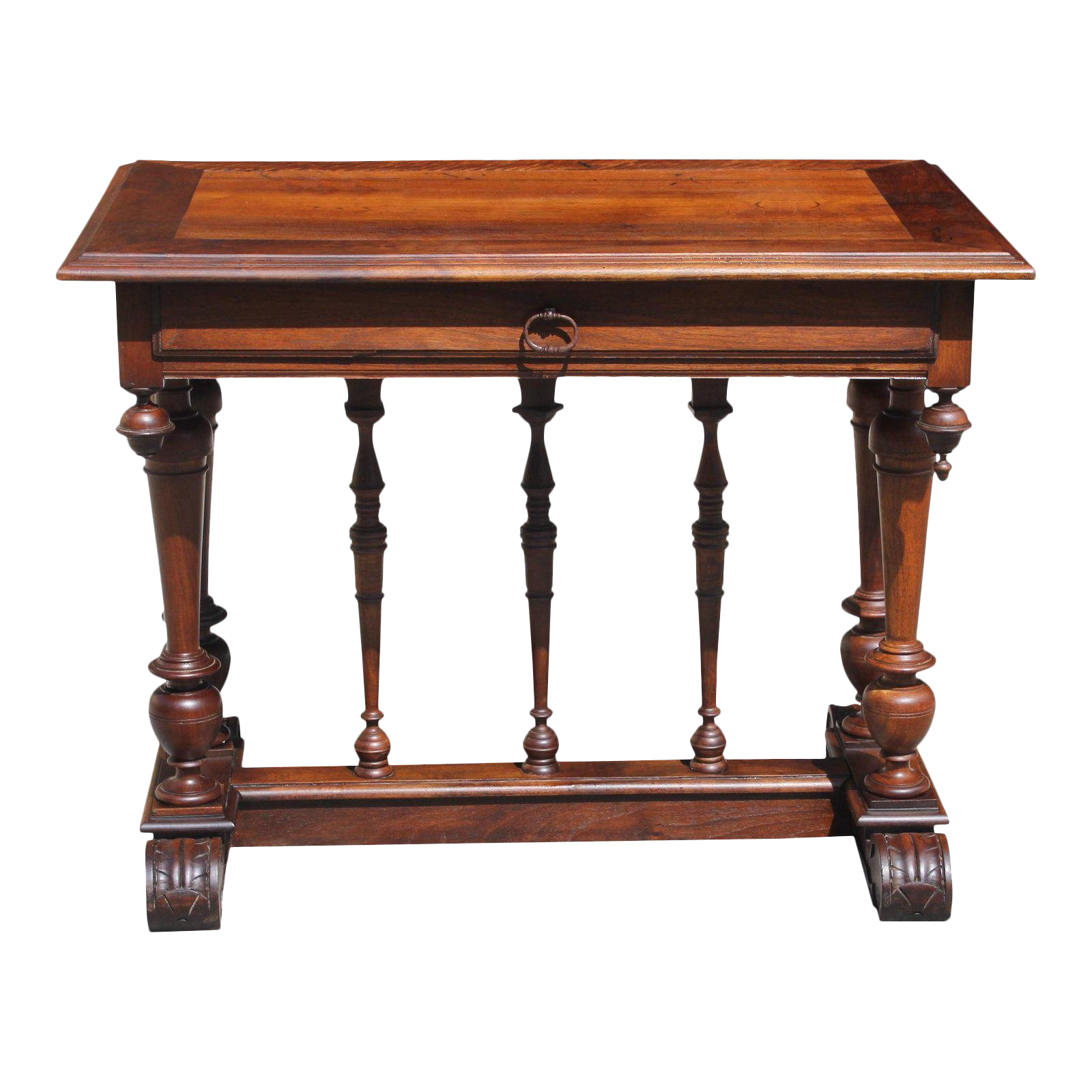 Beautiful French 19th Century Renaissance Revival Writing Table Or Console  Table Solid Walnut . For Sale