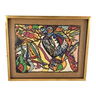 Gilt Framed Abstract Needlepoint Art Signed For Sale