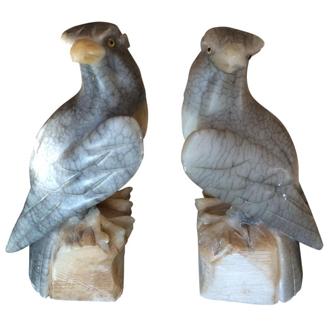 Carved Alabaster Eagle Bookends - A Pair - Image 1 of 10