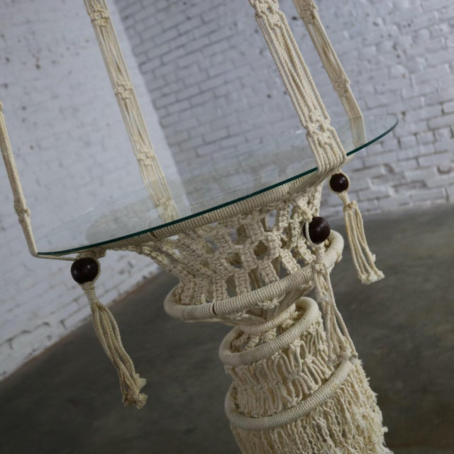Glass Vintage Bohemian White Macramé Hanging Tables With Round Glass Tops - a Pair For Sale - Image 7 of 14