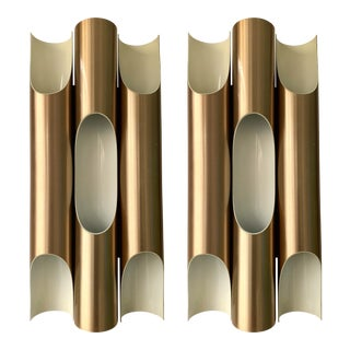 Pair of Maxi Fuga Sconces Gilt Metal by Komulainen for Raak Amsterdam. 1970s For Sale