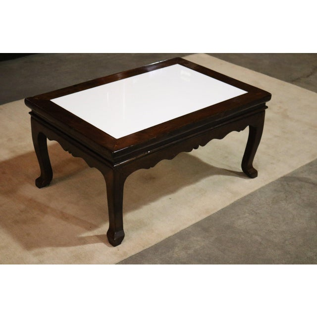 Asian Walnut Wood Marble Top Low Table For Sale - Image 3 of 6