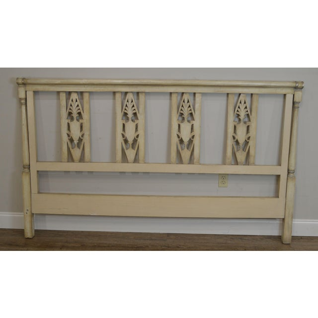 1960s French Regency Directoire Style Vintage Custom Painted King Headboard For Sale - Image 5 of 13