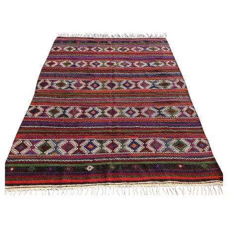 "Vintage Turkish Kilim Rug - 6'7"" x 9'3"" For Sale"