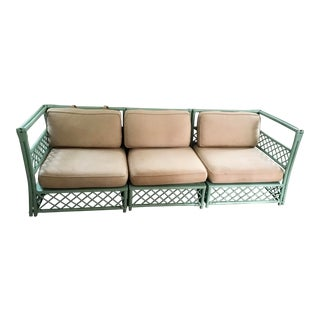 Vintage Rattan Ficks Reed Green Sofa For Sale