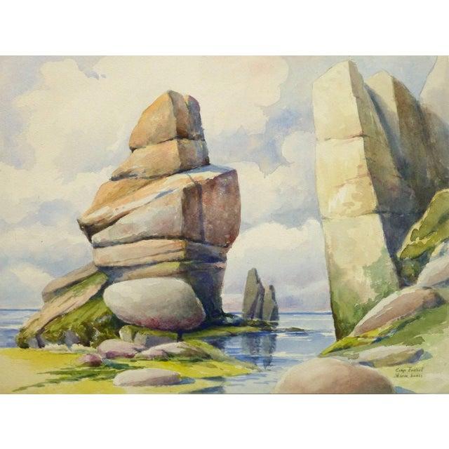 1920s S. Lefevre Goux, Vintage French Watercolor Seascape - Cape Fréhel, Brittany, France For Sale - Image 5 of 5