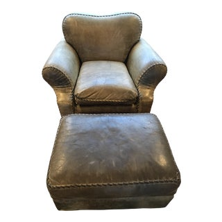 1990s Vintage Leather Cisco Brothers Leather Chair and Ottoman For Sale