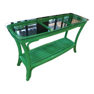 Hollywood Regency Rattan High Gloss Green Console Table With a Glass Top For Sale