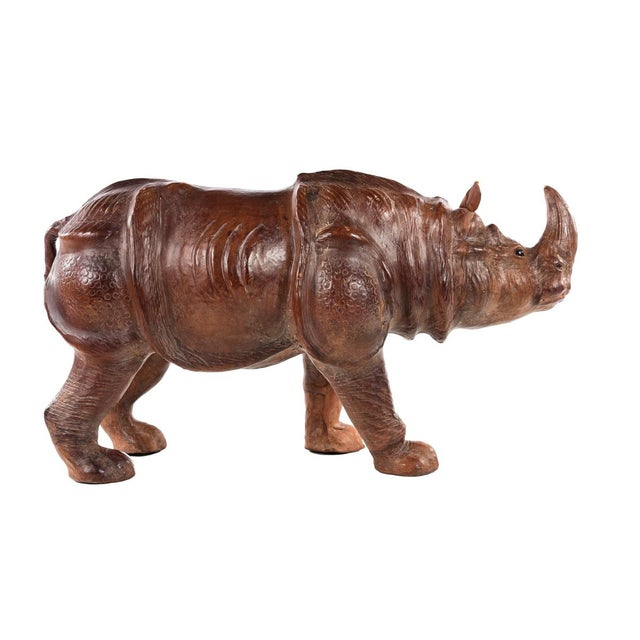 Mid 19th Century Vintage Leather Rhinoceros Sculpture For Sale - Image 5 of 9