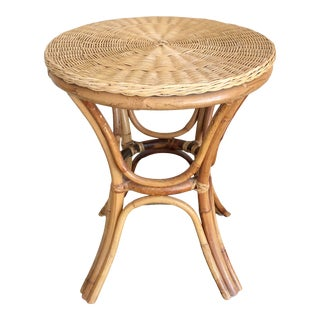 Mid Century Wicker Rattan Side Table For Sale