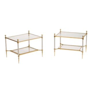 French Maison Jansen Brass and Steel Side Tables - a Pair For Sale