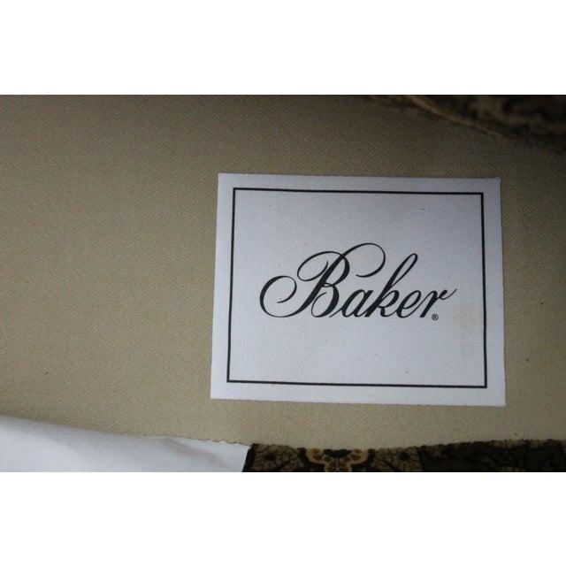 Baker Velvet & Cherry Wood Wingbacks - A Pair - Image 4 of 6