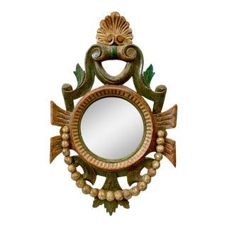 Continental Carved Polychrome Convex Wall Mirror For Sale