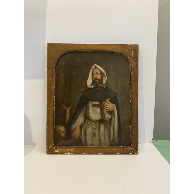 Antique 19th C. Portrait of Saint Dominic Oil on Canvas Painting For Sale In New York - Image 6 of 11