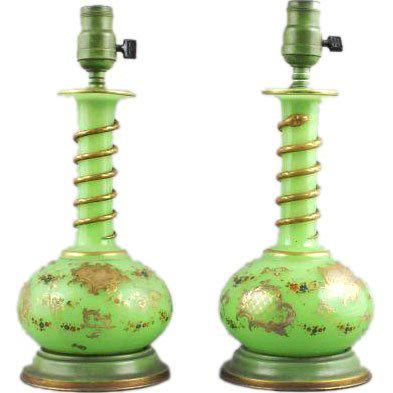 Traditional Pair of Applied Green Glass Vases, Electrified For Sale - Image 3 of 4