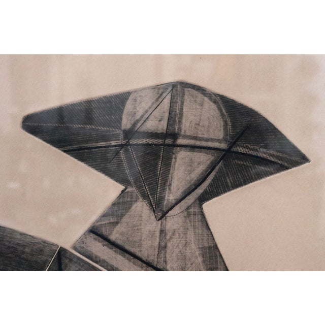 A commanding abstract graphite on paper! Strong lines emboss the paper in a figural vase shape. Limited edition numbered...