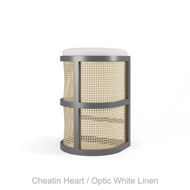 Not Yet Made - Made To Order Isabella Bar Stool - Cheating Heart Charcoal, Optic White Linen For Sale - Image 5 of 5
