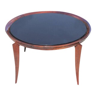 Jules Leleu French Art Deco Solid Mahogany Round Coffee Table