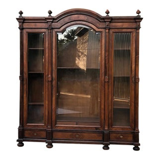 19th Century French Louis XVI Rosewood Triple Display Armoire ~ Bookcase For Sale