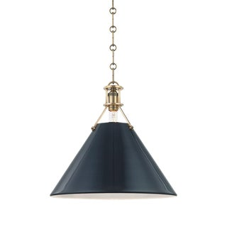 Painted No.2 1 Light Large Pendant - AGB/DBL