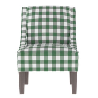 Swoop Arm Chair in Classic Gingham Evergreen Oga For Sale