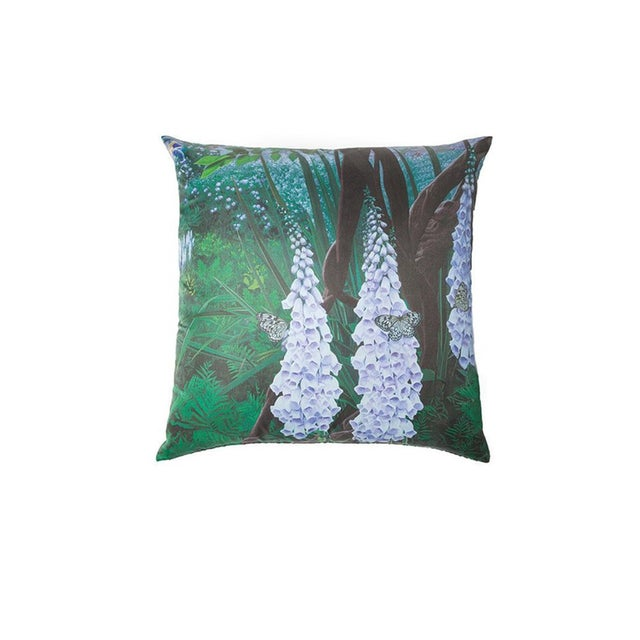 Contemporary Foxglove and Butterfly Silk Pillow For Sale - Image 3 of 3