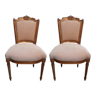 19th Century French Louis XVI Style Gilt Wood Chairs-A Pair For Sale
