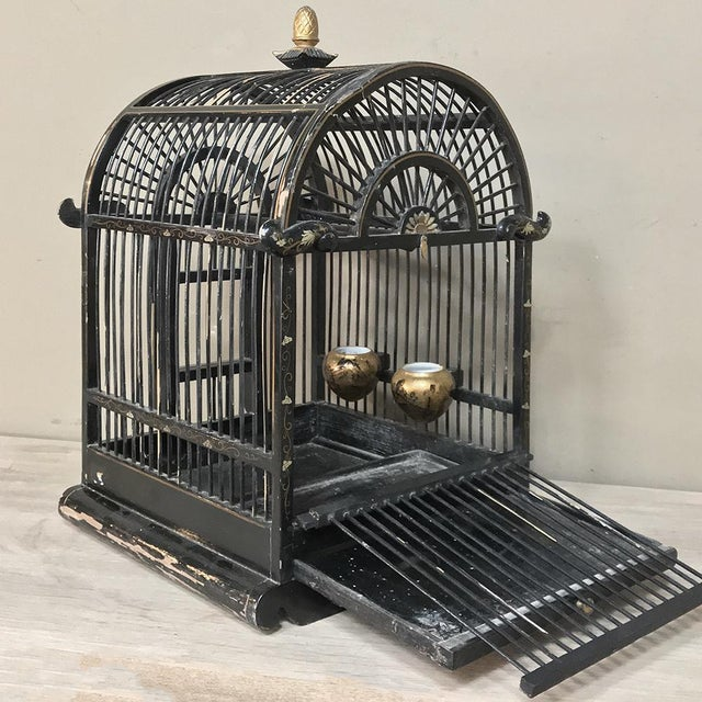 Gold 19th Century French Hand-Painted Chinoiserie Bird Cage For Sale - Image 8 of 13