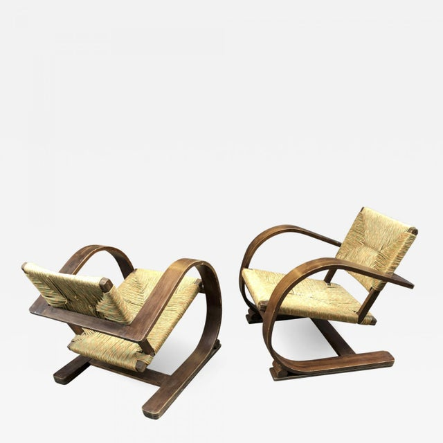 Wood Audoux Minet Pair of Bent Wood Lounge Chair With a Rare Rush Cover For Sale - Image 7 of 7