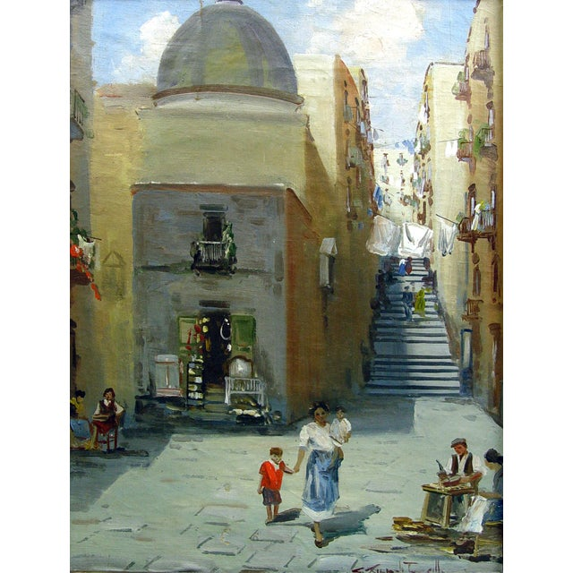 Italian street scene oil on canvas, signed illegibly lower right. Displayed in carved giltwood period frame. Image size,...
