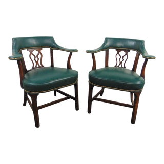 Hickory Chair Chippendale Green Leather Mahogany Chairs - a Pair For Sale