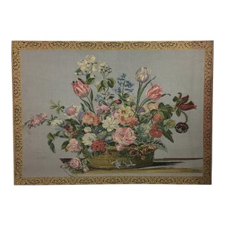 Vintage English Handmade Tapestry Floral Still Life For Sale