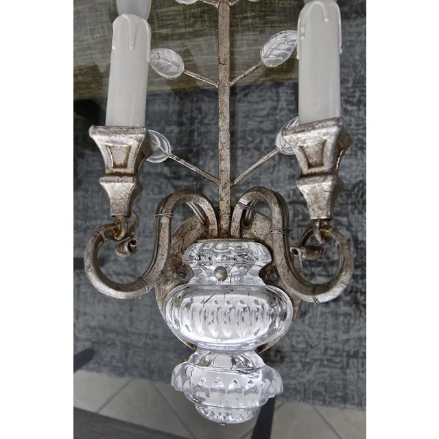 Banci Crystal Silver Gilt Flower Wall Sconces - a Pair For Sale - Image 11 of 13