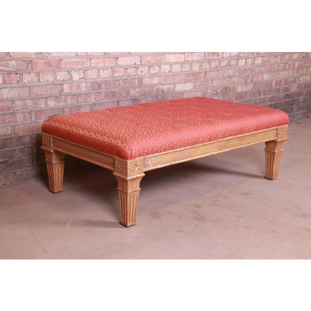 Baker Furniture French Louis XVI Gilt Upholstered Bench, Circa 1960s For Sale In South Bend - Image 6 of 13