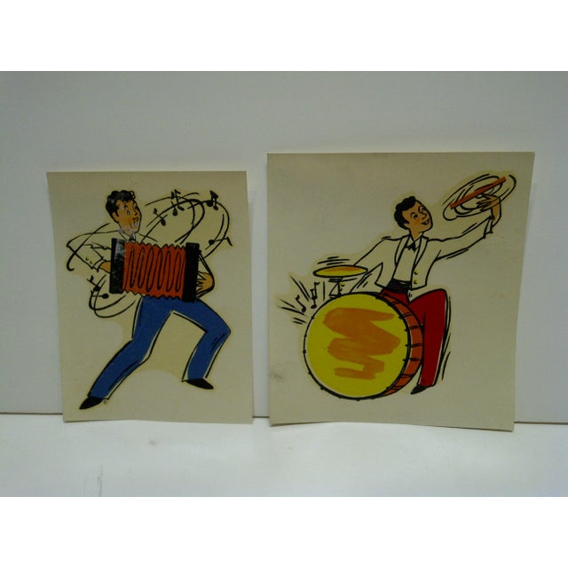 "This is a Vintage -- Lot of 2 -- Decals / Wall Decorations -- Titled ""Accordian"" & ""Drummer"" -- No. 176 & No. 177 -- By..."