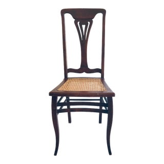 Art Nouveau Caned Side Chair Reddish Finish For Sale