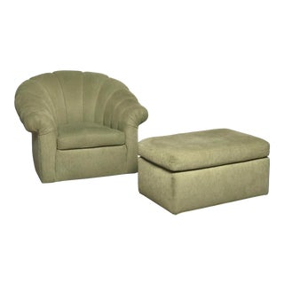 Ivory Channel Back Club Chair and Ottoman For Sale
