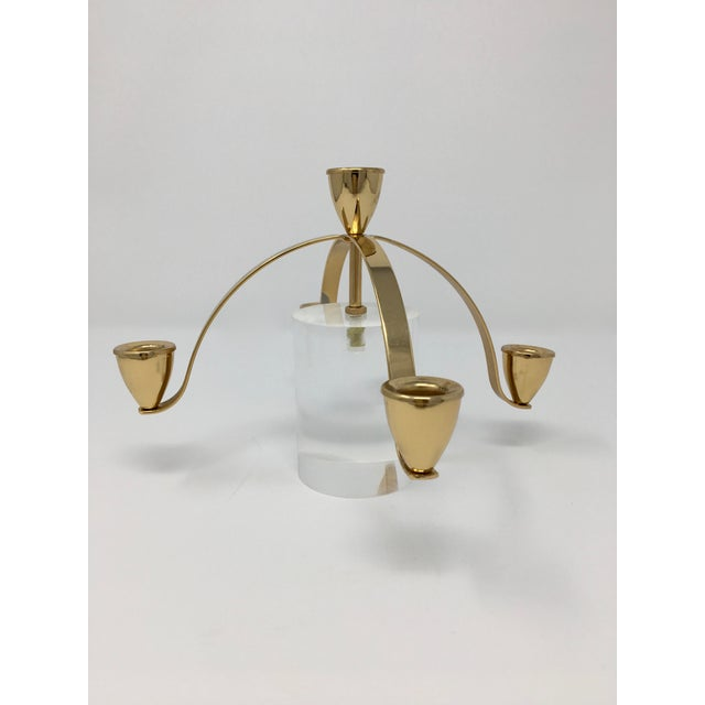 Metal Mid- Century Modern 5 Candle Brass and Lucite Candle Holder For Sale - Image 7 of 8