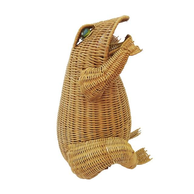 1970s Vintage Whimsical Rattan Wicker Frog Basket For Sale - Image 4 of 11
