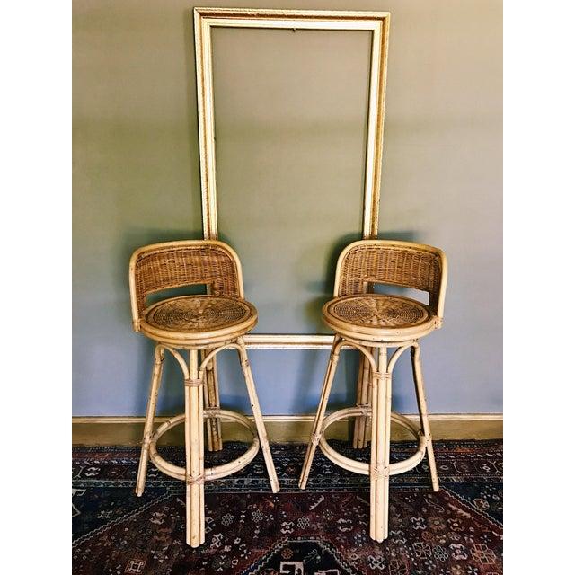 Vintage boho rattan bamboo swivel bar stools a pair