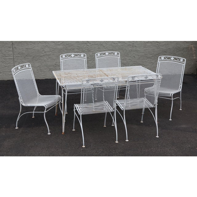 High Quality Vintage White Painted Wrought Iron & Expanded Metal Patio Dining Table Along with 6 Chairs