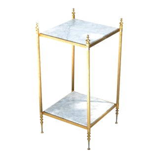 Pair of Maison Jansen Bronze and White Marble Neoclassical Side Table, End Table, France For Sale
