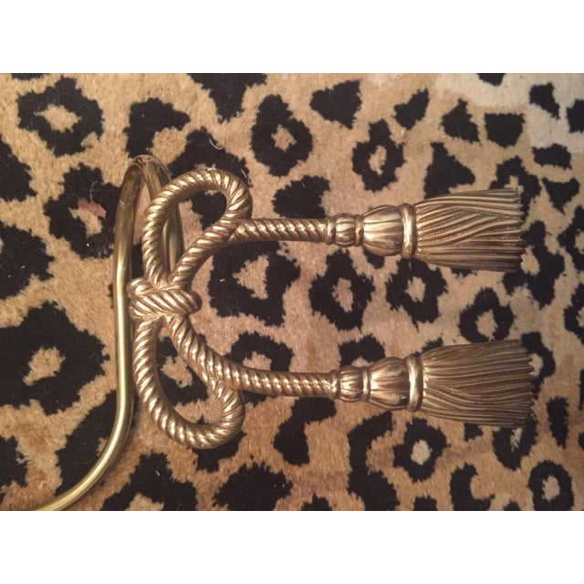 Hollywood Regency Brass Bow Tassel Curtain Tie Backs - a Pair For Sale - Image 4 of 10