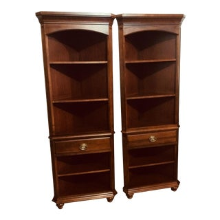 Traditional Cherry Corner Display Shelves With Hepplewhite Hardware-a Pair For Sale