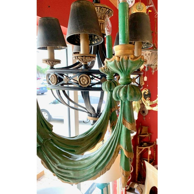 Green Mid 20th Century Vintage Italian Chandelier Hand Carved Wood For Sale - Image 8 of 10