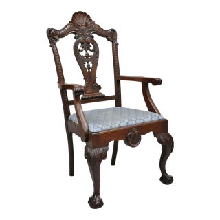 Late 19th Century Antique Mahogany Georgian Chippendale Style Shell Carved Ball and Claw Arm Chair For Sale